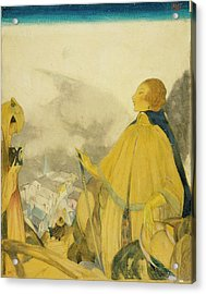 A Woman Posing Overlooking A Village Acrylic Print by Henry R. Sutter