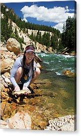 A Woman Smiles As She Catches Acrylic Print