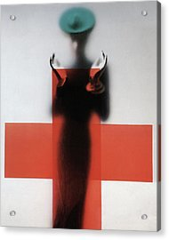 A Woman Standing Behind A Red Cross On Frosted Acrylic Print