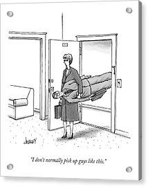 A Woman Walks Through A Door Carrying A Man Acrylic Print