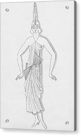 A Woman Wearing A Costume Acrylic Print by Robert E. Locher