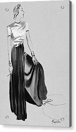 A Woman Wearing A Dress By Muriel King Acrylic Print