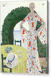 A Woman Wearing A Floral Dress Acrylic Print by Georges Lepape