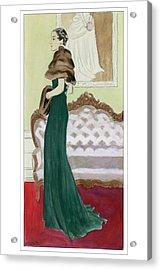 A Woman Wearing A Green Dress Acrylic Print