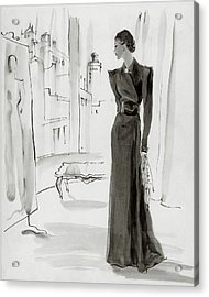 A Woman Wearing A House-coat Acrylic Print by Rene Bouet-Willaumez