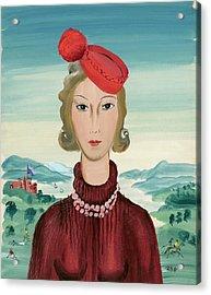 A Woman Wearing A Pillbox Hat Acrylic Print