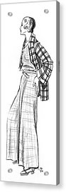 A Woman Wearing A Plaid Outfit Acrylic Print