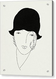 A Woman Wearing A Poorly Fitted Hat Acrylic Print by Jean Pages