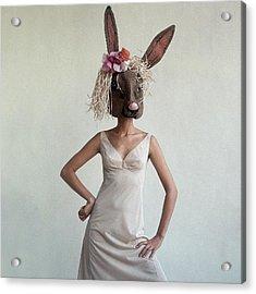 A Woman Wearing A Rabbit Mask Acrylic Print by Gianni Penati