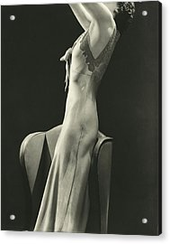 A Woman Wearing A Satin Gown Acrylic Print