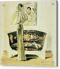 A Woman Wearing A Schiaparelli Evening Gown Acrylic Print