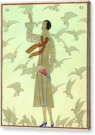 A Woman With Pigeons Acrylic Print by Andre E.  Marty