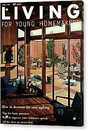 A Wood Paneled Living Room Acrylic Print