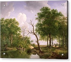 A Wooded River Landscape With Sportsmen In A Rowing Boat Acrylic Print