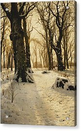 A Wooded Winter Landscape With Deer Acrylic Print