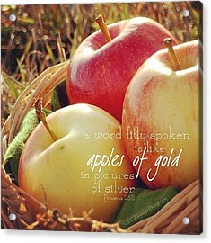 a Word Fitly Spoken Is Like Apples Of Acrylic Print by Traci Beeson