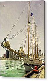 A Yacht Moored At Navy Pier Acrylic Print