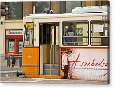 A Yellow Tram On The Streets Of Budapest Hungary Acrylic Print by Imran Ahmed
