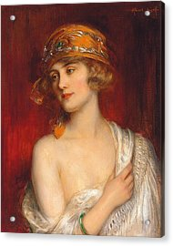 A Young Beauty Acrylic Print by Albert Lynch