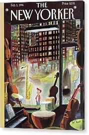 A Young Boy Admires A Saxophone Acrylic Print