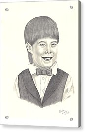 Acrylic Print featuring the drawing A Young Boy by Patricia Hiltz