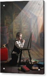 A Young Boy Praying With A Light Beam Acrylic Print by Pete Stec