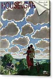 A Young Couple And Their Dogs On A Hilltop Acrylic Print by Pierre Brissaud