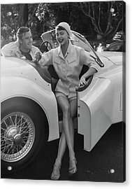 A Young Model Sitting In A Convertible Sports Car Acrylic Print
