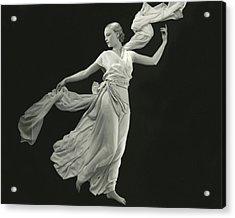 A Young Model Wearing A Vionnet Dress Acrylic Print