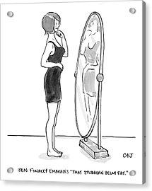 A Young Woman Stands Facing A Full-length Mirror Acrylic Print
