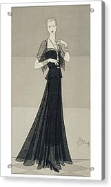 A Young Woman Wearing A Black Dress And Cape Acrylic Print