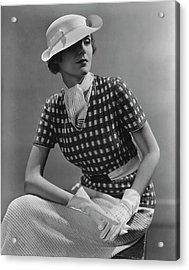 A Young Woman Wearing A Checked Shirt And Panama Acrylic Print by Lusha Nelson