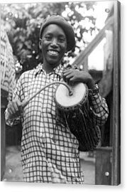 A Young Yoruba Drummer Acrylic Print by Underwood Archives