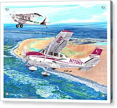 Cessna 206 And A1a Husky Acrylic Print by Jack Pumphrey
