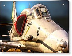 A4 Skyhawk Attack Jet Acrylic Print by Thomas Woolworth