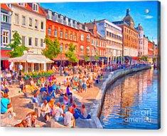 Aarhus Canal Digital Painting Acrylic Print by Antony McAulay