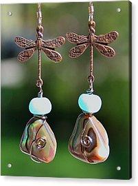 Abalone Dragonfly Earrings Acrylic Print