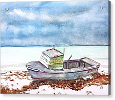 Abandoned Beached Wood Boat Acrylic Print
