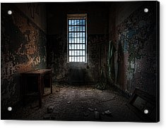 Abandoned Building - Old Room - Room With A Desk Acrylic Print by Gary Heller