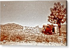Abandoned Desert Trailer Acrylic Print by Gregory Dyer