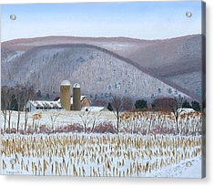 Abandoned Farm In The Mountain's Shadow Acrylic Print