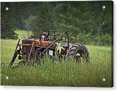 Abandoned Farm Tractor In The Grass Acrylic Print by Randall Nyhof