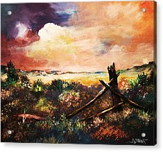 Acrylic Print featuring the painting Abandoned Fence Post by Al Brown