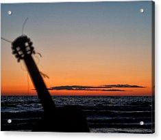 Acoustic Guitar On The Beach Acrylic Print by Mike Santis