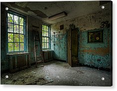 Acrylic Print featuring the photograph Abandoned Places - Asylum - Old Windows - Waiting Room by Gary Heller