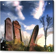 Abandoned Tombstones On The Prairie Acrylic Print by Elaine Plesser