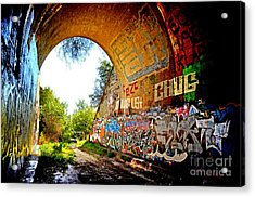 Abandoned Train Tunnel South Of The Old Train Roundhouse At Bayshore Near San Francisco  Acrylic Print by Jim Fitzpatrick