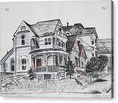 Abandoned Victorian And Neighbors In Oakland California Acrylic Print by Asha Carolyn Young