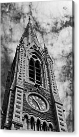 Abbey Church Clock In Black And White Acrylic Print