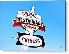 Acrylic Print featuring the photograph Abc Restaurant Vintage Neon Sign by Gigi Ebert